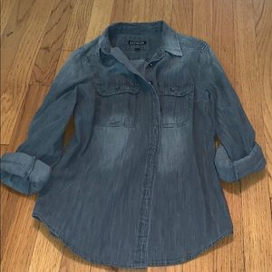 Express button down jean material distressed grey
